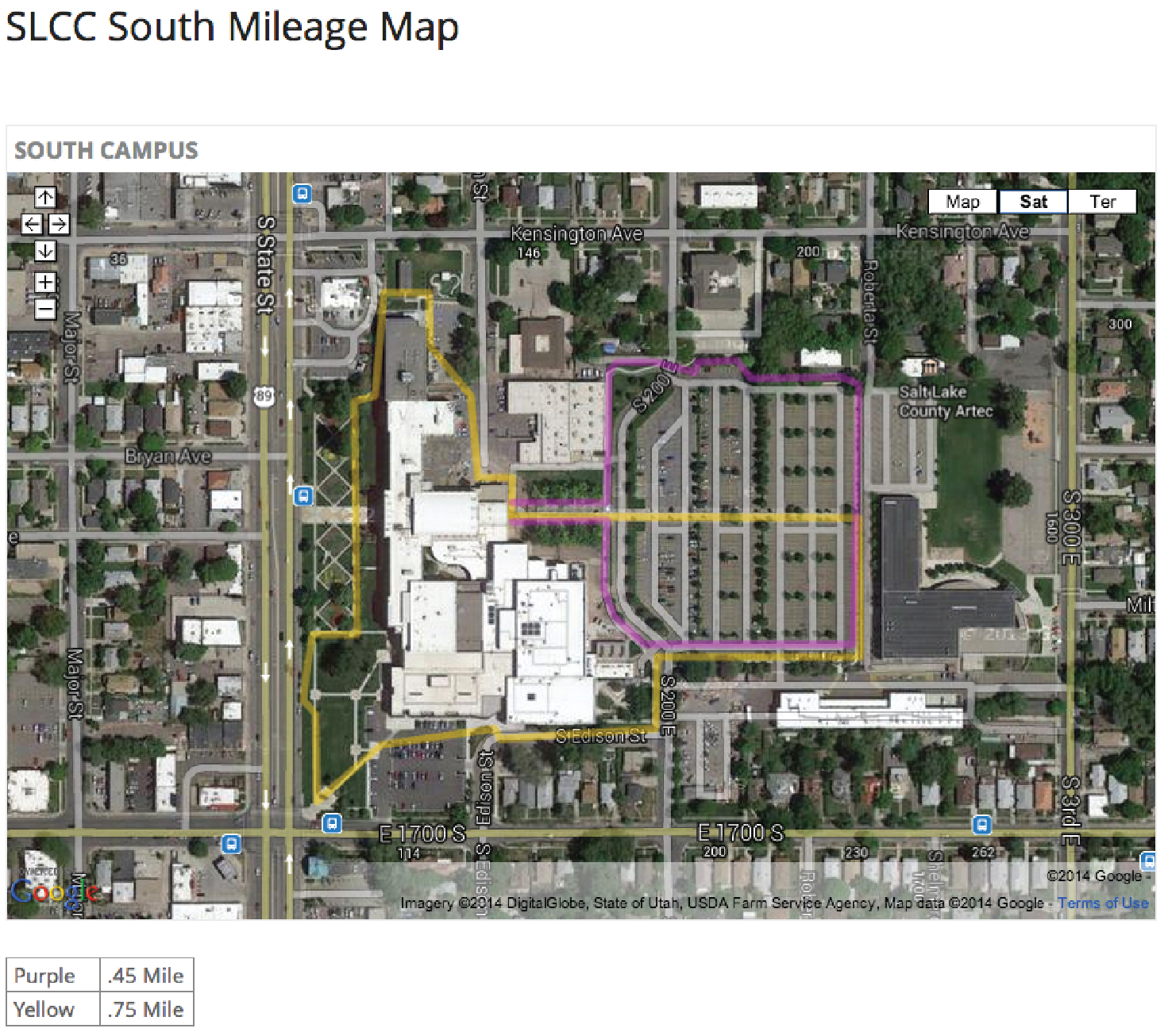 south mileage map slcc